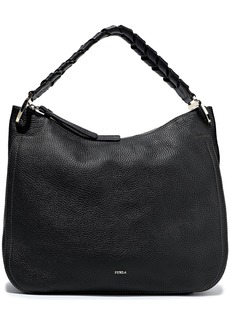 Furla Woman Rialto Medium Braid-trimmed Pebbled-leather Tote Black