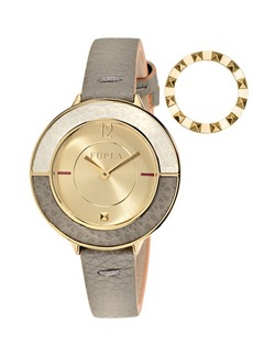 Furla Women's Club Gold Dial Calfskin Leather Watch