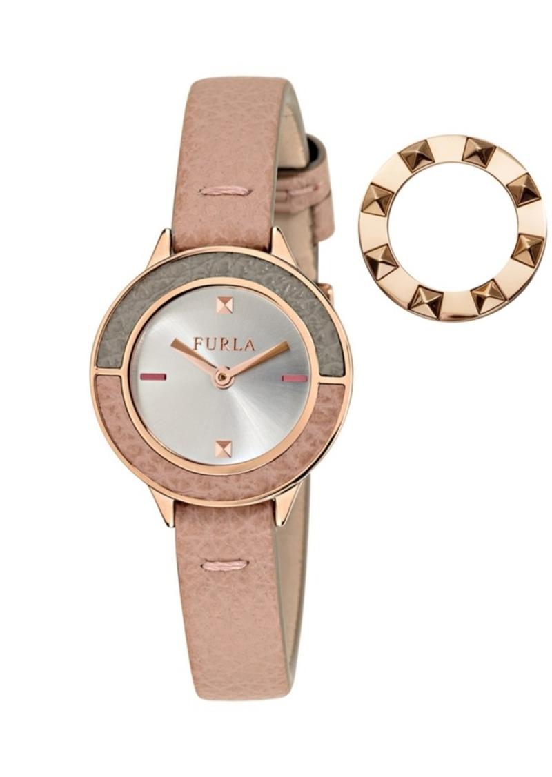 Furla Women's Club White Dial Calfskin Leather Watch