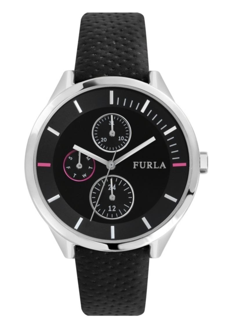 Furla Women's Metropolis Black Dial Calfskin Leather Watch