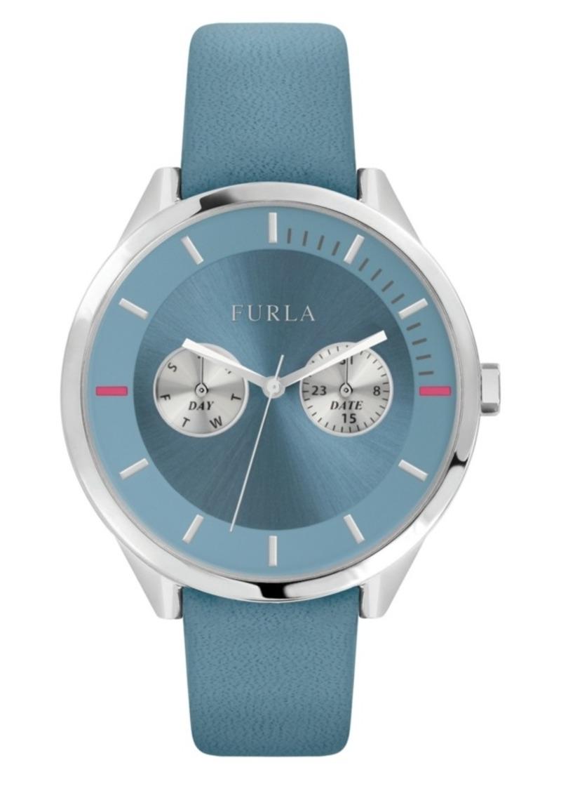 Furla Women's Metropolis Light Blue Dial Calfskin Leather Watch