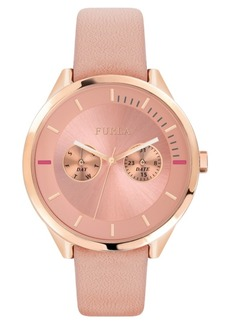 Furla Women's Metropolis Pink Dial Calfskin Leather Watch