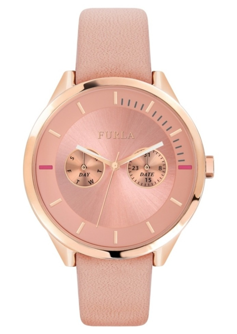 Furla Women's Metropolis Pink Dial Calfskin Leather Watch