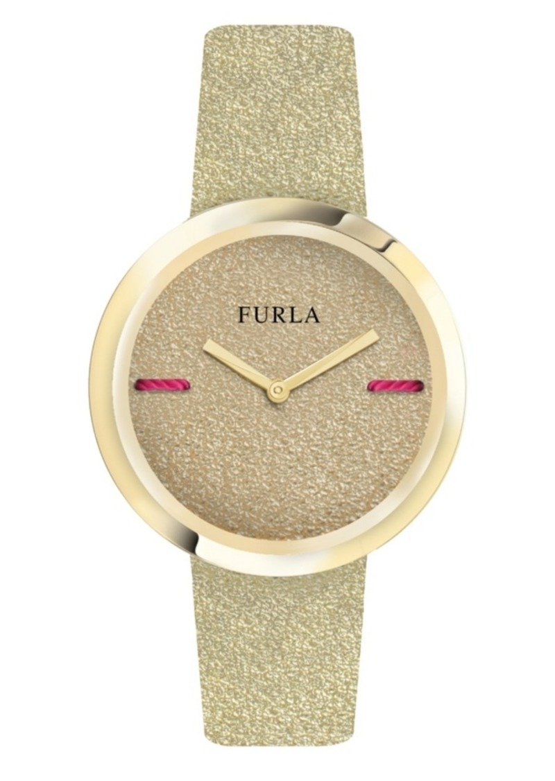 Furla Women's My Piper Gold Dial Calfskin Leather Watch