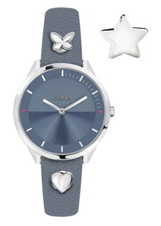 Furla Women's Pin Blue Dial Calfskin Leather Watch