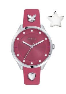 Furla Women's Pin Pink Dial Calfskin Leather Watch