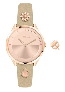 Furla Women's Pin Rose Gold Dial Calfskin Leather Watch