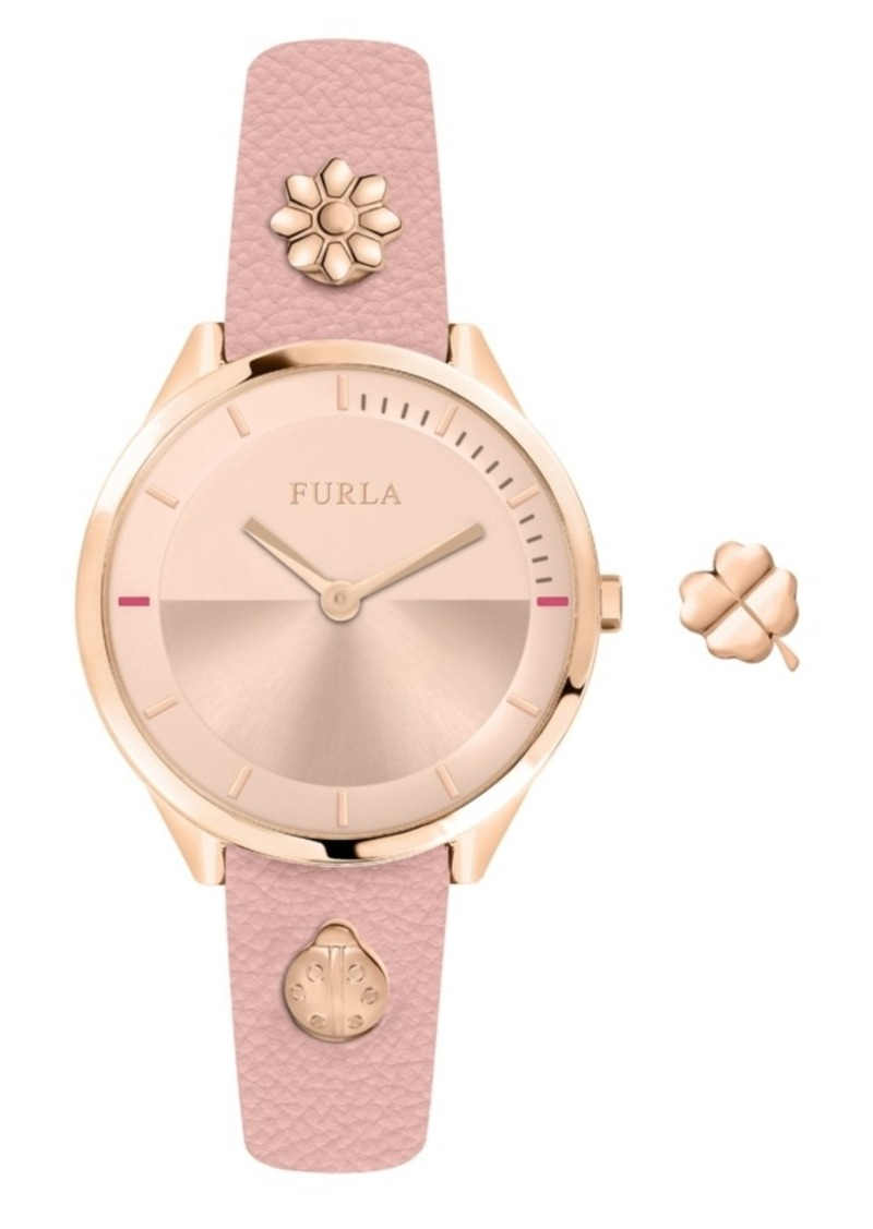 Furla Women's Pin Rose Gold Dial Calfskin Leather Watch