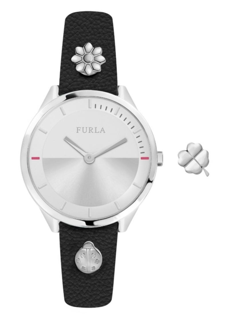 Furla Women's Pin Silver Dial Calfskin Leather Watch