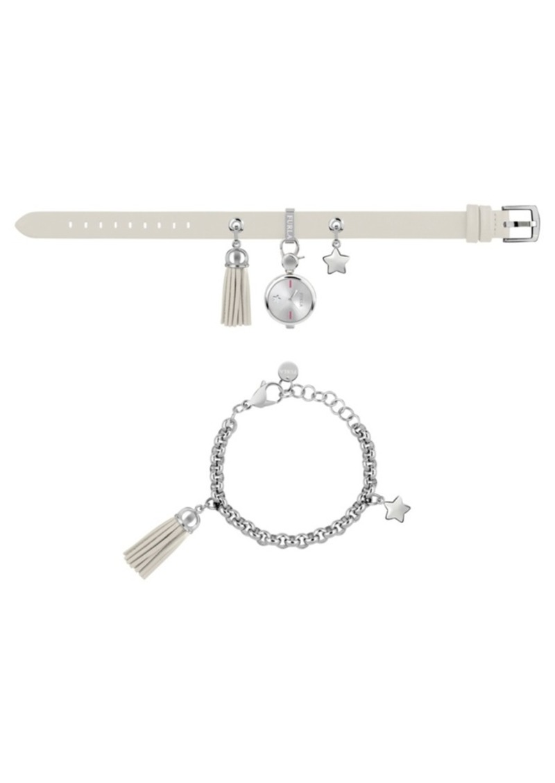 Furla Women's Stacy White Dial Stainless Steel Chain Calfskin Leather Watch Set