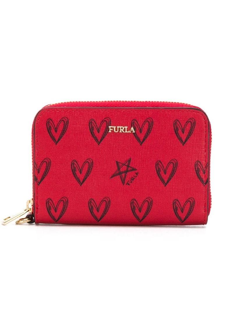 Furla heart print zip-around wallet