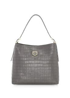Furla Medium Belvedere Crocodile-Embossed Leather Hobo Bag