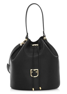 Furla Medium Drawstring Leather Bucket Bag