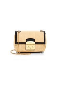Furla Metropolis Leather Trim Basket-Weave Crossbody Bag