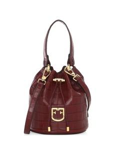 Furla Mini Corona Drawstring Croc-Embossed Leather Bucket Bag