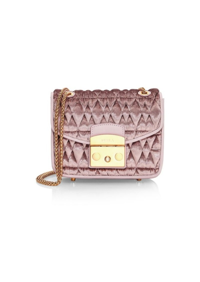 Furla Mini Metropolis Quilted Velvet Shoulder Bag