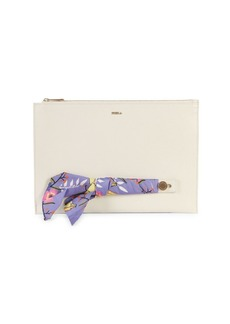 Furla Scarf-Accent Leather Clutch