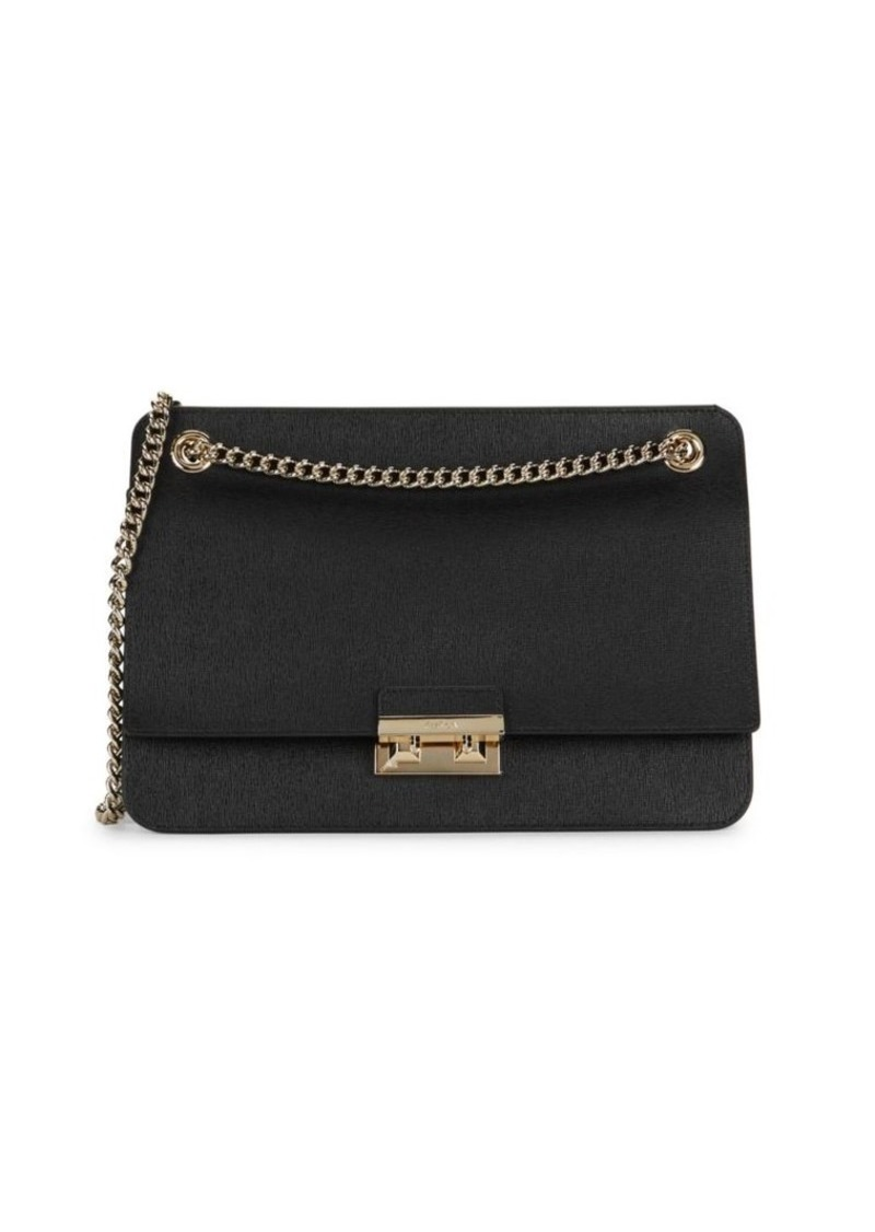 Furla Textured Leather Chain Shoulder Bag