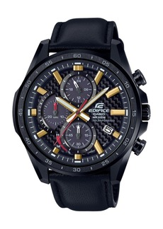 G-Shock Men's Solar Chronograph Edifice Black Leather Strap Watch 47.6mm