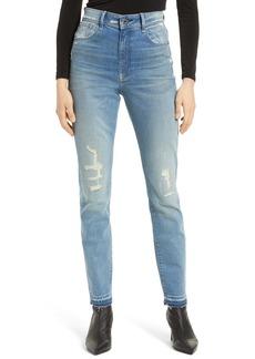 G-Star RAW Kafey Distressed Ultra High Waist Released Hem Skinny Jeans (Vintage Cool Aqua Destroyed)