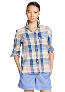 G-Star Raw Women's Tacoma One Pocket Long Sleeve Bf Shirt in Indigo Sterling Pompeian Red Check