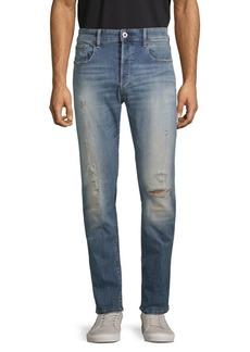 G Star Raw Denim 3301 Slim Distressed Button-Fly Jeans