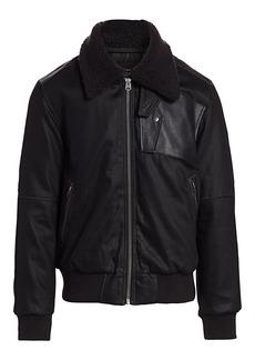 G Star Raw Denim Bollard Faux Fur Collar Bomber Jacket