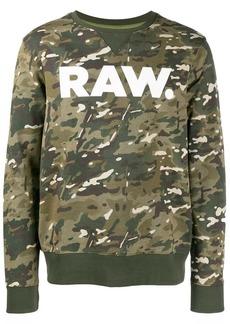 G Star Raw Denim camouflage logo print sweatshirt
