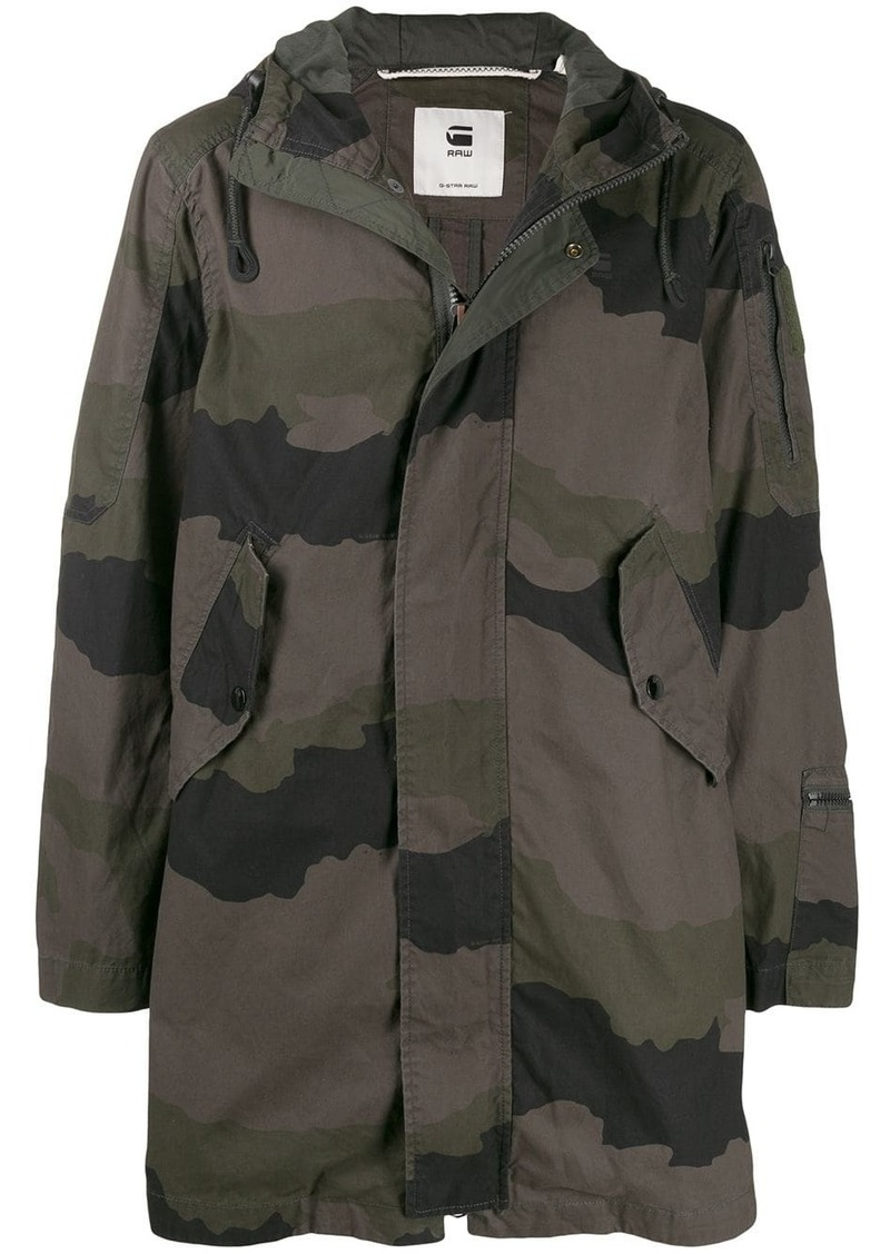 G Star Raw Denim camouflage print hooded parka