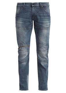G Star Raw Denim Distressed Zip Knee Jeans