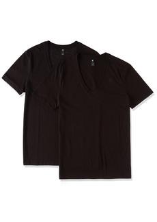 G Star Raw Denim G-Star Men's Base HTR 2 Pack Short Sleeve V-Neck T-Shirt Black