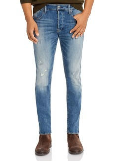 G Star Raw Denim G-STAR RAW 3301 Slim Fit Jeans in Antic Faded Ripped Marine