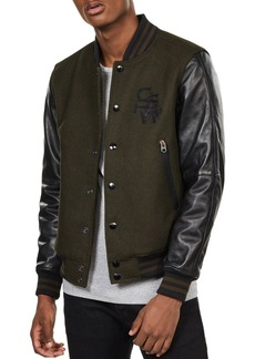 G Star Raw Denim G-STAR RAW Bolt Slim Fit Leather Bomber Jacket