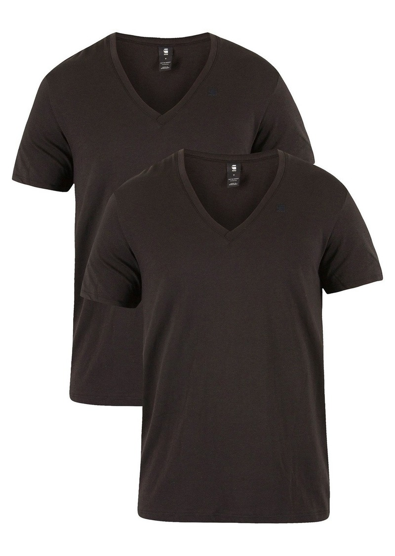 G Star Raw Denim G-Star Raw Men's Base Heather V Neck Tee Short Sleeve 2 Pack solid black