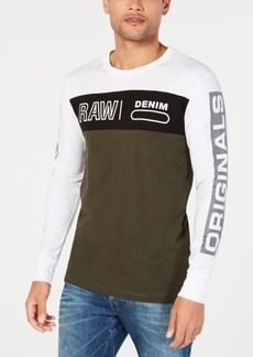 G Star Raw Denim G-Star Raw Men's Long-Sleeve Colorblocked Logo T-Shirt, Created for Macy's