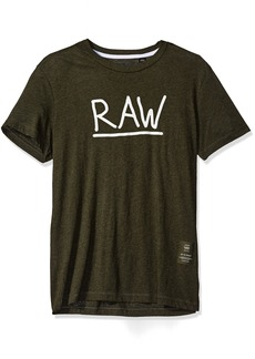 G Star Raw Denim G-Star Raw Men's Manes Short Sleeve Logo T-ShirtForestNightHeatherM