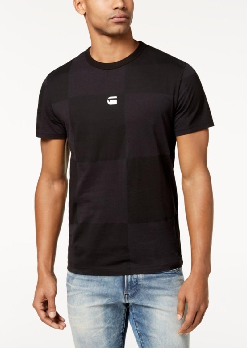 newest 01f14 d7d38 G-Star Raw Men's Rc Jollu Tonal Check Logo-Print T-Shirt
