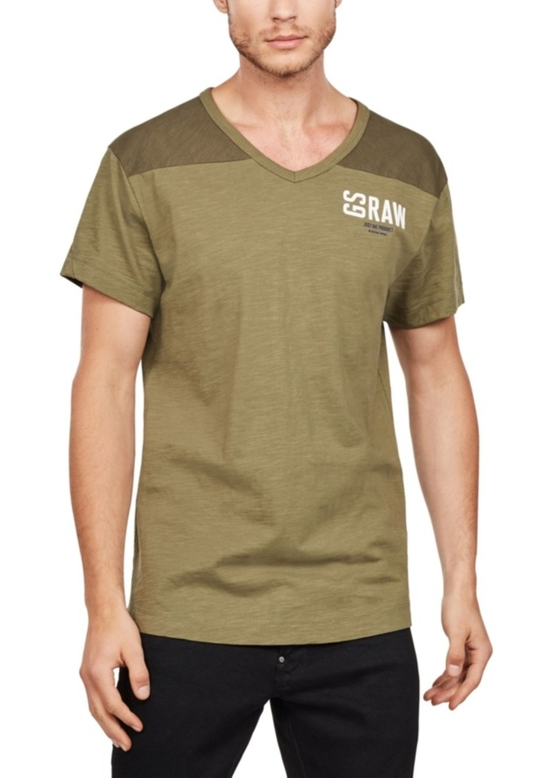 G Star Raw Denim G-Star Raw Men's Two-Tone V-Neck T-Shirt, Created for Macy's