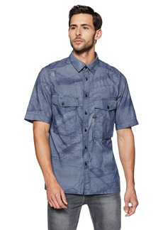 G Star Raw Denim G-Star Raw Men's Type C Straight Shirt Short Sleeve Lt Wt Torg Chambray Duck Rinsed/Dark Marine AO