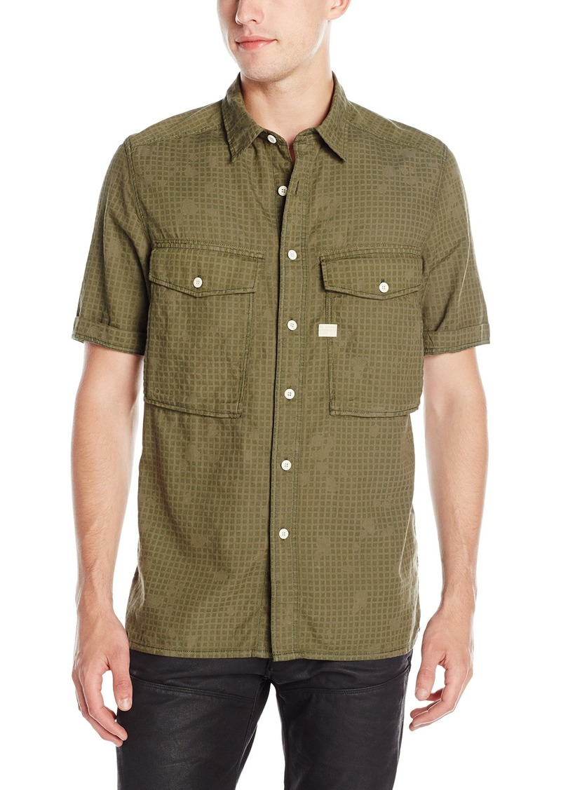 G Star Raw Denim G-Star Raw Men's Type C Straight Shirt Short Sleeve Monta Bw Infra Red Camo a Sage/Dark Bronze/Green AO