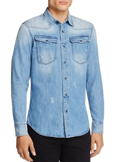 G Star Raw Denim G-STAR RAW Spattered and Faded Denim Regular Fit Snap-Front Shirt