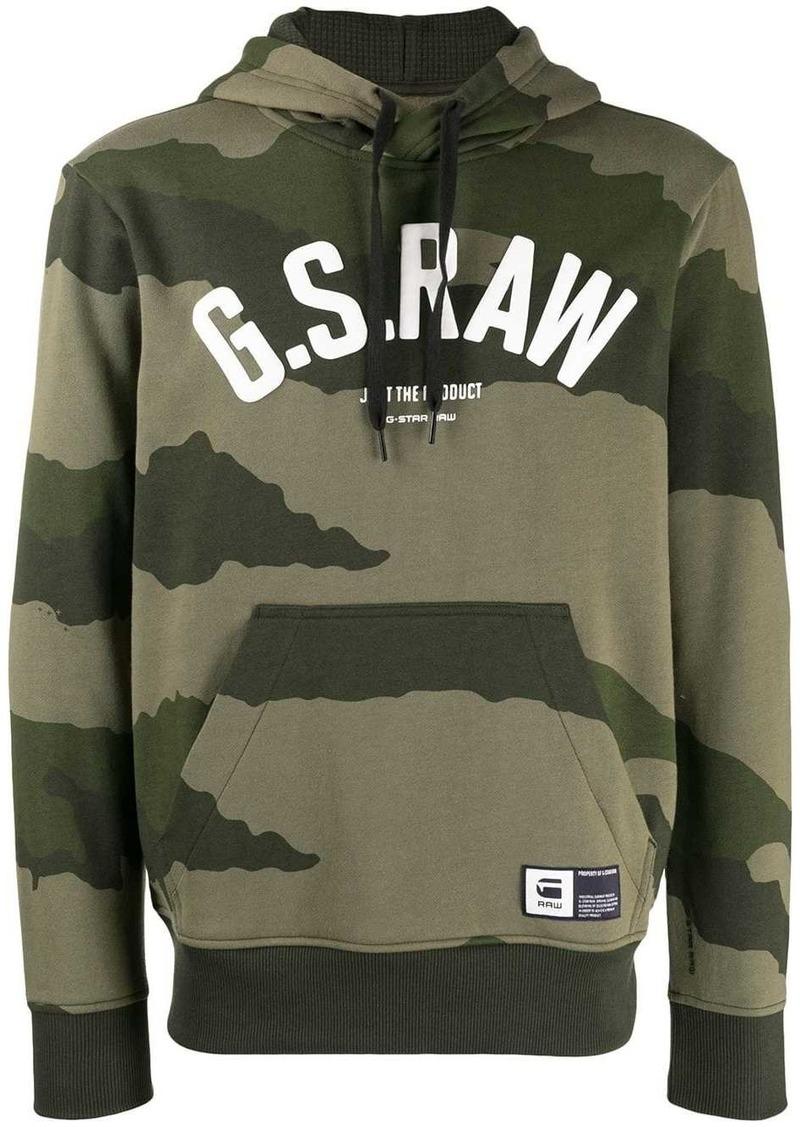 G Star Raw Denim logo camouflage print hoodie