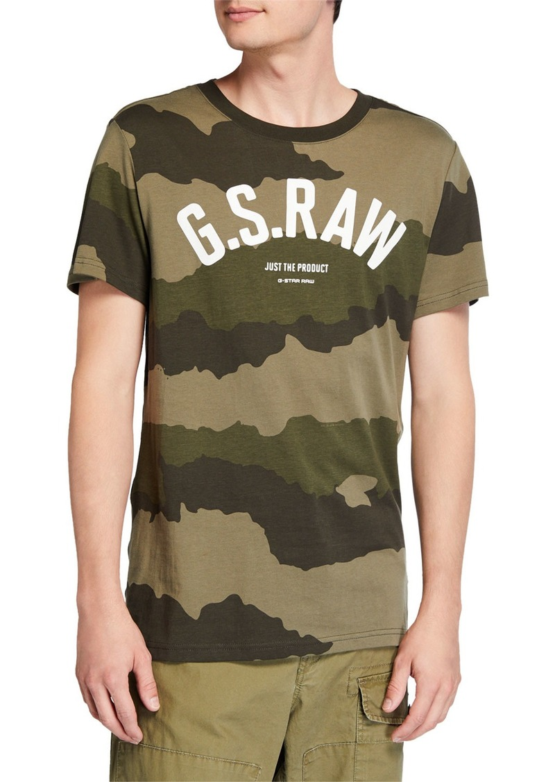 G Star Raw Denim Men's Camo-Print Typographic T-Shirt