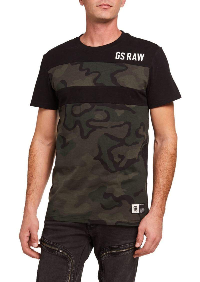 G Star Raw Denim Men's Graphic Camo-Stripe T-Shirt