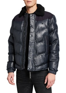 G Star Raw Denim Men's Western Leather Puffer Jacket