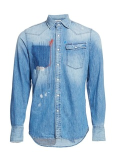 G Star Raw Denim Slim-Fit Patchwork Denim Shirt