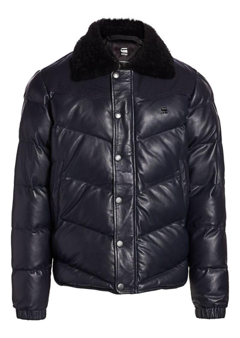 G Star Raw Denim Western Faux-Fur Collar Puffer Jacket