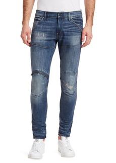 G Star Raw Denim Zip Knee Distressed Skinny Jeans