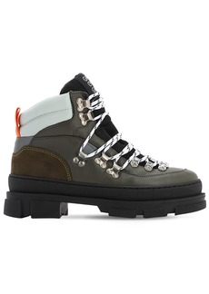 Ganni 45mm Sporty Leather Hiking Boots
