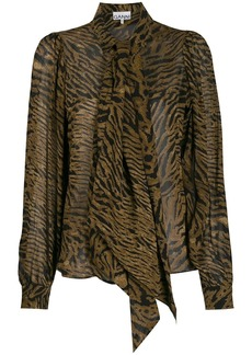 Ganni animal print blouse